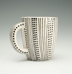 Cafe Mug - Lines and Dots Black and White Hand Painted Designs