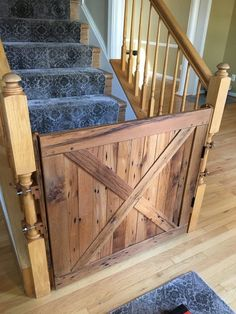 baby gates with pet doors for stairs gate barn door stair solid reclaimed oak from Barn Door Baby Gate, Barn Door Decor, Diy Baby Gate, Pet Gate, Baby Door, Door Gate, Dog Gates For Stairs, Stair Gate, Banister Baby Gate