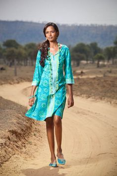 Love the colors. Yellow and blue kurta.