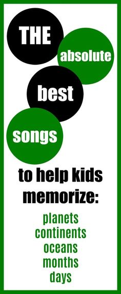 The best songs to help kids memorize the planets, oceans, continents, months, and days of the week. - Kids education and learning acts Preschool Songs, Preschool Learning, Kids Songs, Educational Activities, Fun Learning, Preschool Activities, Teaching Kids, Learning Tools, Homeschool Kindergarten