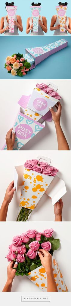 Posy flower Box, cutest paper packaging to give the gift of love to that special someone, Modern, unique and extra special #rose #pastel #inspo