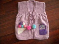 Baby / toddler knit vest baby girl knit waistcoat by EvMik Baby Knitting Patterns, Crochet Patterns, Knitted Baby Cardigan, Knit Vest, Easy Crochet, Crochet Hats, Baby Fabric, Kegel, Bobble Stitch