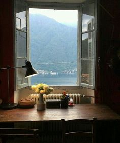 Lake Como. I think the lesson here is that, the more fabulous the view, the less you need window treatments like fancy curtains, intricately carved frames, leaded and/or stained glass, etc.