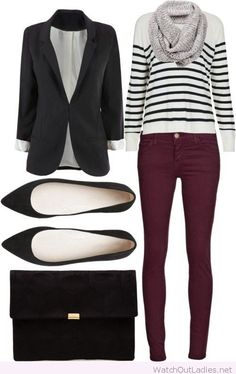 Burgundy pants, blouse and blazer.