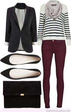 Burgundy pants, blouse and blazer