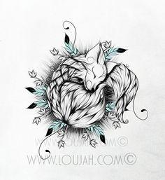 Little Fox by LouJah #art #illustration #draw #drawing #doodle #stretch #boho #bohostyle #bohemian #gypsy #gypsies #hippy #hippies #fox #renard #animal #animals #wild #wildlife #feather #feathers #cute #tattoo #ideatattoos #tattoos #tatouage #pink