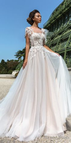 crystal design 2018 short handkerchief sleeves sheer jewel straight across neck heavily embellished bodice romantic soft a line wedding dress chapel train (brea) mv -- Crystal Design 2018 Wedding Dresses