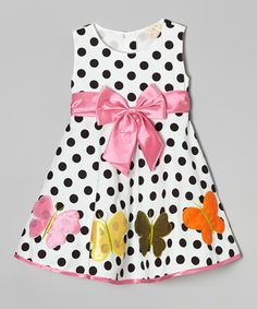 Love this Lele for Kids Pink & Black Polka Dot Bow A-Line Dress - Toddler & Girls by Lele for Kids on #zulily! #zulilyfinds