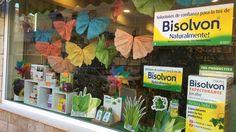 Escaparate farmacia primavera mariposas