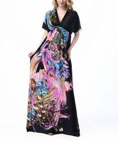 Black & Pink Floral Empire-Waist Maxi Dress - Plus Too