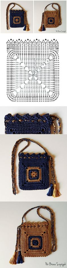 Crochet bag pattern purse granny squares 32 ideas : Crochet bag pattern purse g. Crochet bag pattern purse granny squares 32 ideas : Crochet bag pattern purse granny squares 32 id kleine Oma Quadrate Crochet Purse Patterns, Crochet Clutch, Crochet Basket Pattern, Granny Square Crochet Pattern, Crochet Handbags, Crochet Purses, Crochet Granny, Crochet Bags, Diy Crochet