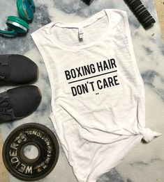 About Boxing Hair Dont Care Funny Workout Tank AYThis tank top is Made To Order, we print one by one so we can control the quality. We use DTG Technology to print Boxing Hair Dont Care Funny Workout Tank AY. Boxing Workout, Workout Humor, Workout Wear, Workout Outfits, Workout Routines, Funny Workout Tanks, Workout Shirts, Fitness Shirts, Workout Clothing