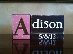 Personalized Wood Name Block  Birth by WoodnExpressions on Etsy, $18.00