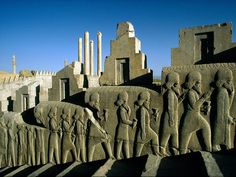Persepolis, Iran  Photograph by James Blair    The ancient city of Persepolis in modern-day Iran was one of four capitals of the sprawling Persian Empire. Built beginning around 520 B.C., the city was a showcase for the empire's staggering wealth, with grand architecture, extravagant works of silver and gold, and extensive relief sculptures such as this one portraying envoys with offerings for the king.    The height of Persian rule lasted from about 550 B.C. until 330 B.C., when Alexander…
