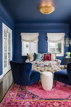 Eclectic living room with bold primary colors.