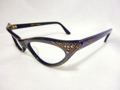 3cd5537803 Etched Jeweled Vintage Cateye Eyeglasses by Frame France-PEARL GREY.   59.99