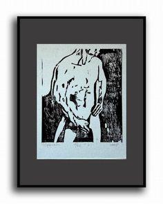 Orginal Nude Man Woodcut Nude Male Original by evartstudio