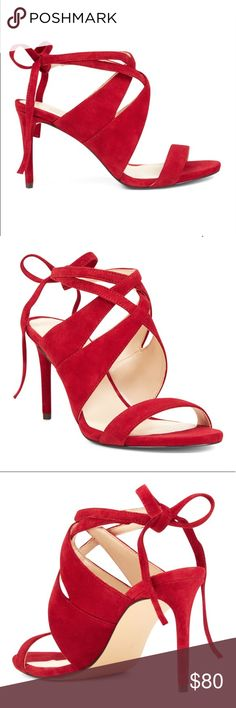Nine West- Ronnie open toe red suede sandals Gorgeous color - red leather suede with very soft material and true to size red 👠👠 Nine West Shoes Heels