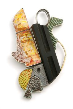 Ford/Forlano - Found Object Pin - polymer, sterling silver, 24K gold, wooden printing block, glass beads, collagraph print