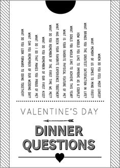 Valentine Dinner questions
