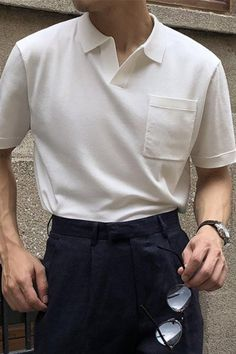 Polo Shirt Outfits, Polo Outfit, Korean Fashion Men, Korean Men Style, Men's Fashion, Fashion Trends, Stylish Mens Outfits, Mens Clothing Styles, Aesthetic Clothes