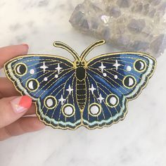 Night Butterfly Patch Iron On Embroidered Patches Moon