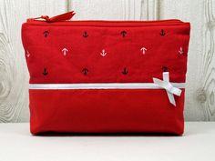 Schminktäschchen - ٠Anker٠ rote Kosmetiktasche - ein Designerstück von ICED bei DaWanda