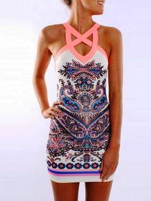 Muiticolour Reverse Sleeveless Paisley Print Bodycon Dress