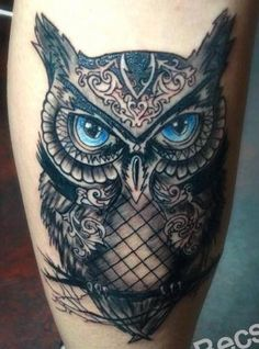 Black Owl Tattoo, Owl Eye Tattoo, Black And Blue Tattoo, Owl Tattoos, Stomach Tattoos, Body Art Tattoos, Sleeve Tattoos, Tattoo Art, Arm Tattoo