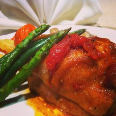 """""""Chicken Coq Au Vin"""" Succulent Chicken thigh cutlets marinated in a light red wine, touch of garlic and soy, baked on top of tomato paste and peeled tomatoes and onions with 300 ml of chicken stock, baked cut potatoes, carrots and fresh beans, fresh asparagus and cup mushrooms - food glorious food"""