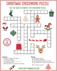 Do you enjoy Christmas crossword puzzles and other word games? Here is a great little Christmas crossword puzzle that is sure to amuse. Christmas Crossword Puzzles, Free Printable Crossword Puzzles, Christmas Puzzle, Christmas Words, Noel Christmas, Xmas Elf, Xmas Games, Christmas Games, Christmas Activities