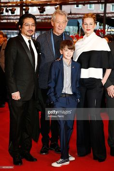 Hiroyuki Sanada, Ian McKellen, Milo Parker and Laura Linney attend the 'Mr. Holmes' premiere during the 65th Berlinale International Film Festival at Berlinale Palace on February 8, 2015 in Berlin, Germany.