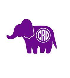Elephant Monogram Car Decal Vinyl Car Decal By CustomVinylbyBridge - Elephant monogram car decal