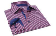 Chemise homme fuchsia à carreaux doublure navy, Chemises cintrées - Chemise Homme