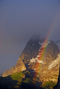 Rainbow Over Eiger Mountain Switzerland Photograph by Anne Keiser - Rainbow Over Eiger Mountain Fine Art Prints and Posters for Sale