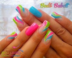 We love neon nails because of their creative colors. The neon nail designs not only shine under the Nail Art Designs, Bright Nail Designs, Nail Designs Spring, Acrylic Nail Designs, Nails Design, Acrylic Nails, Fingernail Designs, Neon Nail Art, Neon Nails