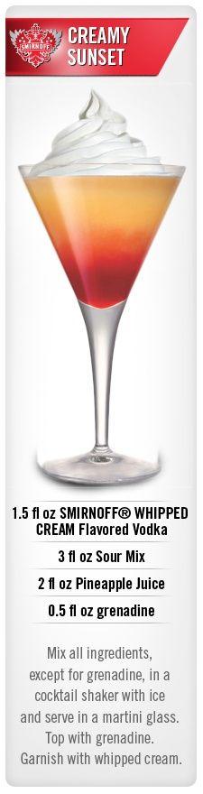 Creamy Sunset drink recipe with Smirnoff Whipped Cream flavored vodka #Smirnoff #recipe
