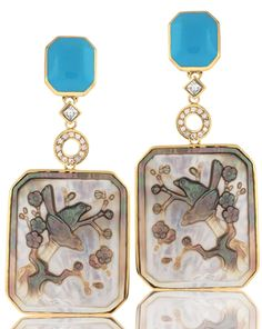 Angelique de Paris 18k gold vermeil-plated sterling silver Bird of Paradise drop earrings with white topaz accents,  signature resin turquoise on top and dangling hand-carved mother-of-pearl #AngeliquedeParis #sterlingsilver #whitetopaz #turquoise #motherofpearl