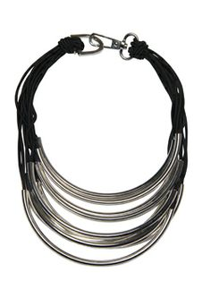 """This statement necklace with the multi-strands of silver rings is light but will add punch to an outfit. Black elastic multi-strand necklace with silver molded cylinder detail. 16"""" interior, 22"""" exterior, lobster claw/D-ring closure. Imported.Doncaster.com-A242NK03BLA"""