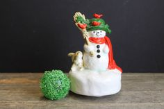 Vintage Ceramic Frosty the Snowman //  Otagiri Japan Hand Painted // Turning Music Box // Plays Frosty The Snowman by MyBarn on Etsy