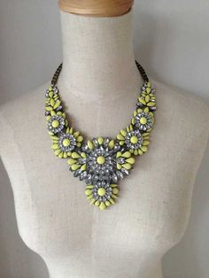 Yellow Statement Necklace Bib Necklace Beaded by Necklace2014, $29.00
