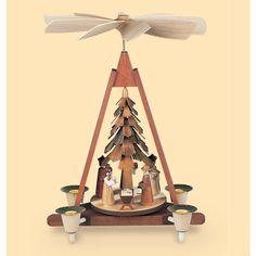 Weihnachtspyramide aus dem Erzgebirge    Christi Geburt    1-stöckig    Natur     22x14x31cm
