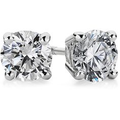 Blue Nile Diamond Stud Earrings in 18k White Gold (1 ct. tw.) found on Polyvore