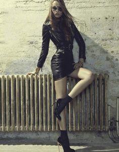 Mina Cvetkovic for Grazia France - Moschino leather dress and jacket #mina cvetkovic #leather #leather dress #Moschino #leather jacket #black leather