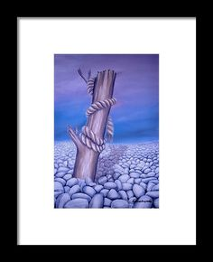 Framed Art Print,  coastal,scene,stones,desert,landscape,pebbles,rocks,rope,dead,tree,log,branch,wood,trunk,broken,old,blue,purple,lavender,white,beautiful,image,fine,oil,painting,contemporary,scenic,modern,virtual,deviant,wall,art,awesome,cool,artistic,artwork,for,sale,home,office,decor,decoration,decorative,items,ideas