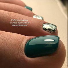 Ideas Shellac Pedicure Designs Toenails For 2019 Green Toe Nails, Pretty Toe Nails, Summer Toe Nails, Cute Toe Nails, Toe Nail Art, My Nails, Pedicure Summer, Toe Nail Polish, Green Nail