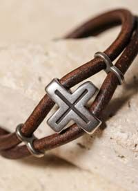 Mens Gifts Jewelry Bracelet Leather Pewter Easter Confirmation