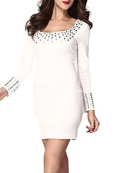White O-neck Long Sleeves Bodycon Dress