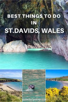 St Davids or St David's is a city and a community with a cathedral in Pembrokeshire, Wales, lying on the River Alun. It is the final resting place of Saint David, Wales's patron saint, and named after him. Cardiff, Ireland Travel, Travel Uk, Travel Plan, Travel Goals, Travel Advice, Travel Tips, Wales Beach, Welsh Castles