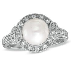 7.5 - 8.0mm Cultured Freshwater Pearl and White Topaz Ring in Sterling Silver with Diamond Accents - Size 7